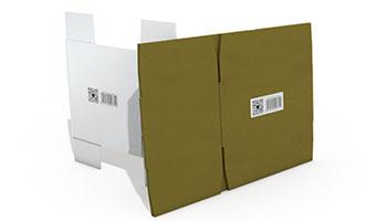 摺疊白色、黃色瓦楞紙箱